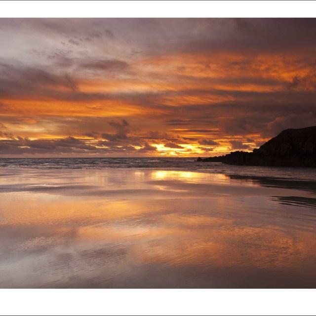 """Receding Tide Aberffraw Beach"" stock image"