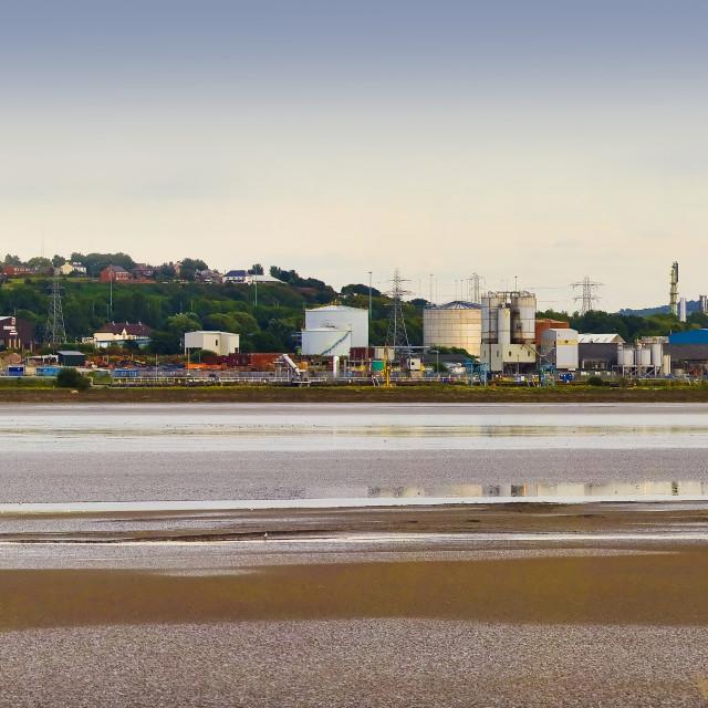 """River Mersey industrial landscape"" stock image"