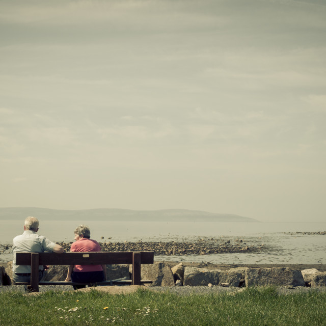 """Old couple on a bench"" stock image"
