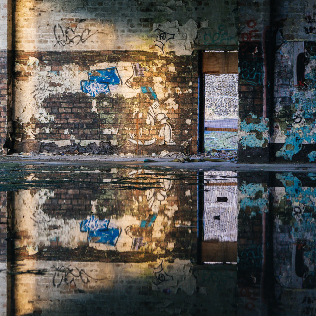 """Abandoned building reflection"" stock image"