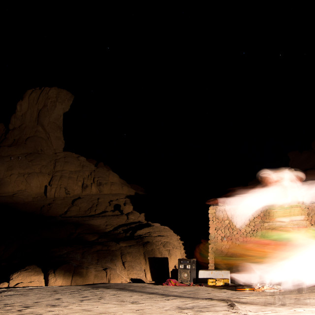 """Whirling dervish under the desert stars"" stock image"