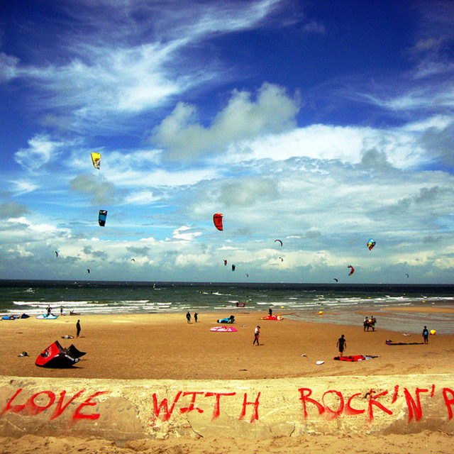 """""""Kitesurfing at Wissant, Northern France"""" stock image"""