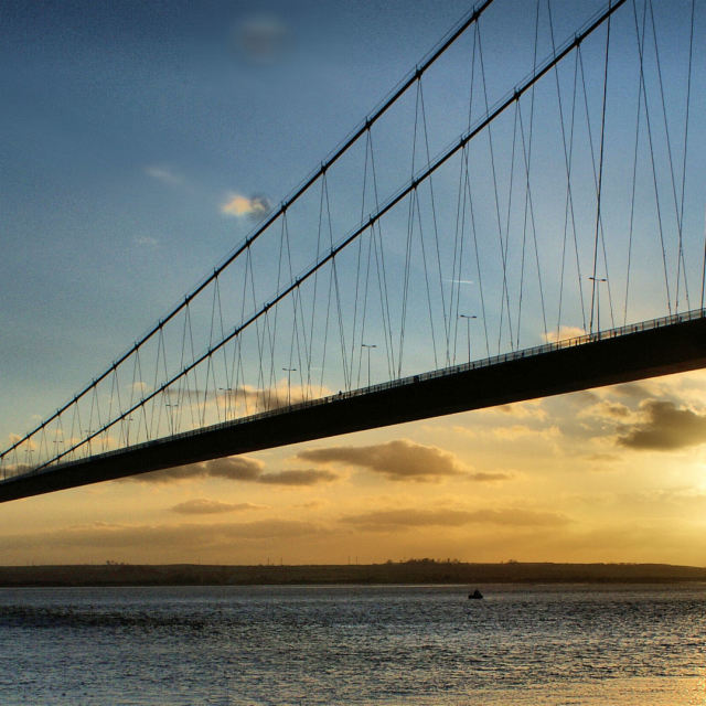 """'Sunset Bridge'"" stock image"