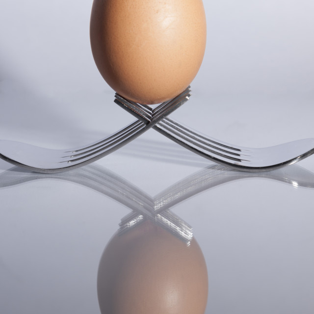 """Egg sitting on crossed forks"" stock image"