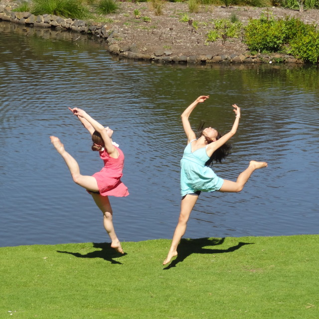 """""""Leaping dancers"""" stock image"""