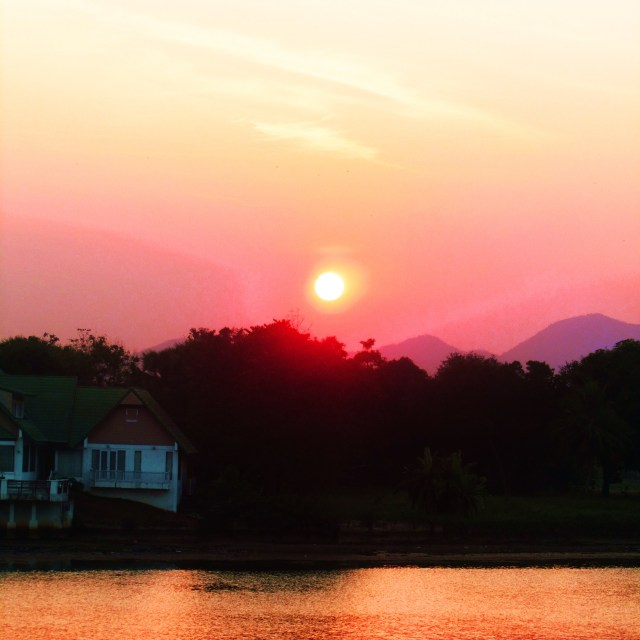"""Sunset over the River Kwai"" stock image"
