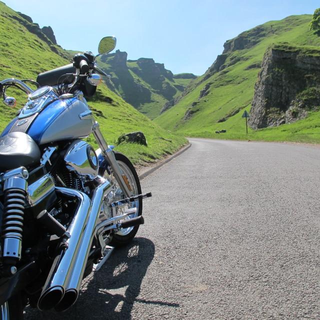"""Peak District Harley"" stock image"