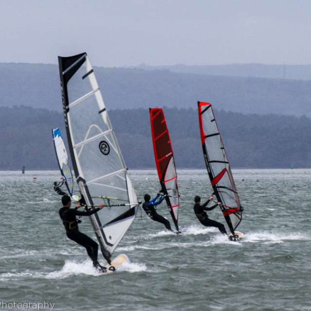 """Windsurf Poole Harbour"" stock image"