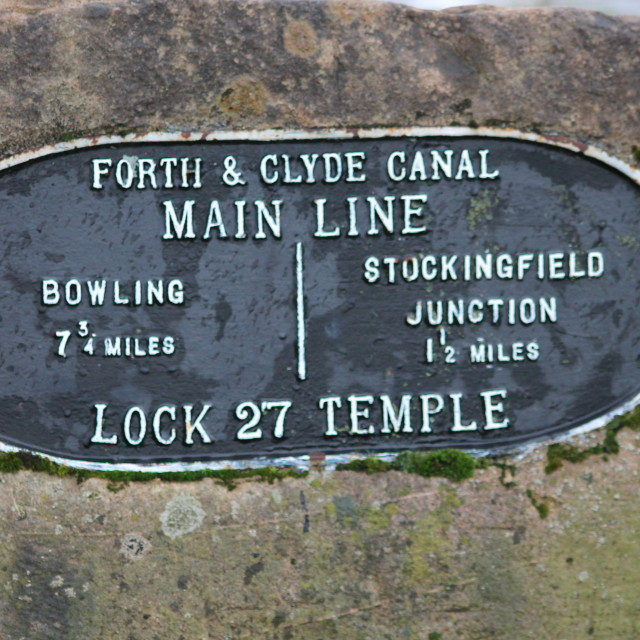 """Sign Forth & Clyde Canal Main line Lock 27 Temple"" stock image"