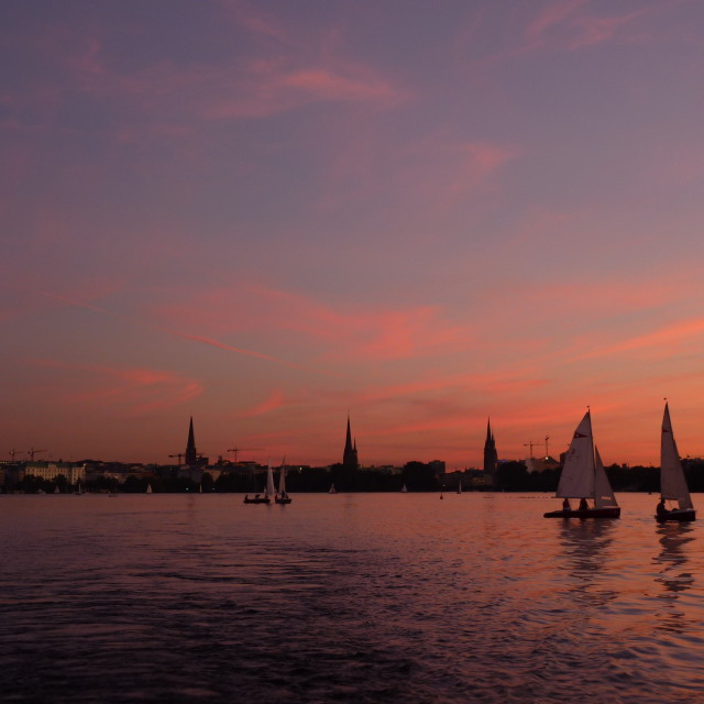 """Sunset on the Alster Lake"" stock image"