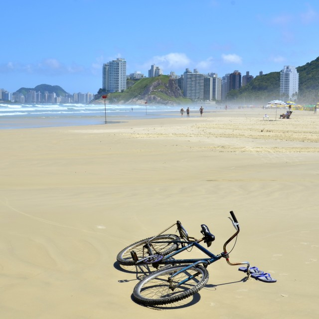 """Cycle on a Brazilian beach"" stock image"