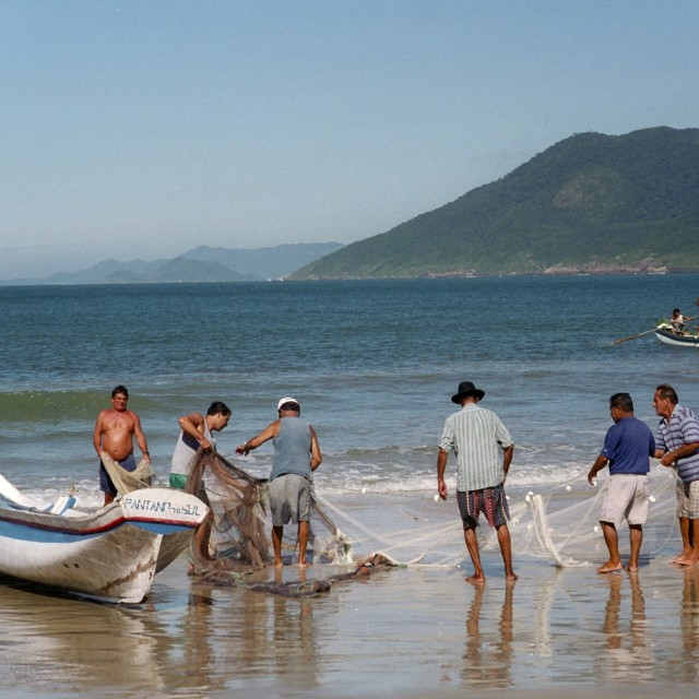 """Santa Catarina fishermen"" stock image"