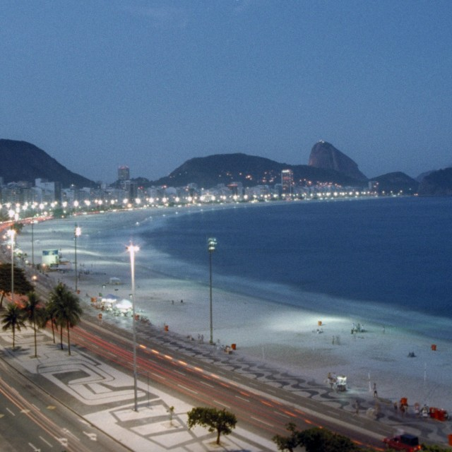 """Copacabana by night"" stock image"