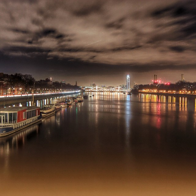 """Chelsea Bridge and the Thames"" stock image"