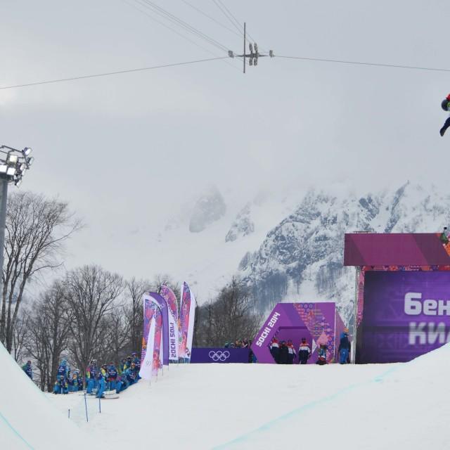 """Ben Kilner in Olympic Halfpipe Qualifications"" stock image"