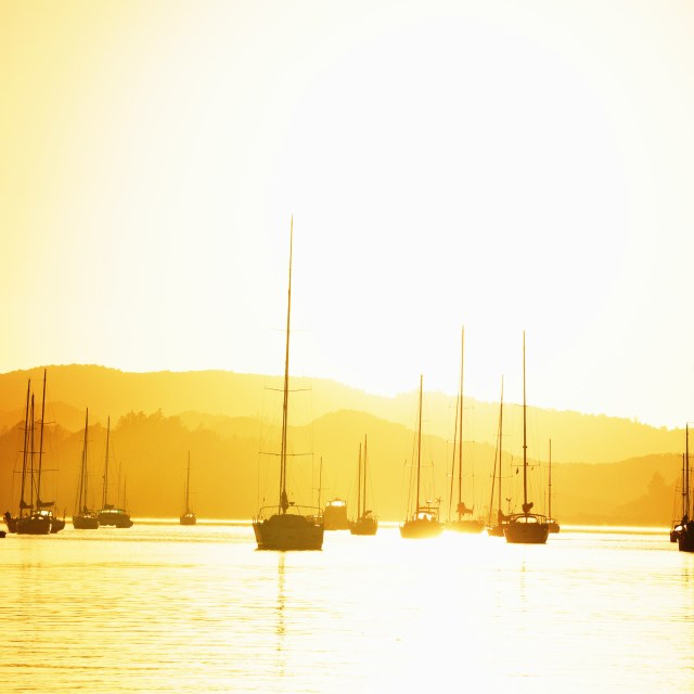 """Dawn in the Bay of Islands"" stock image"
