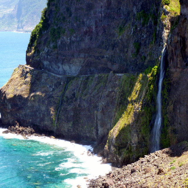 """Coastal waterfall"" stock image"
