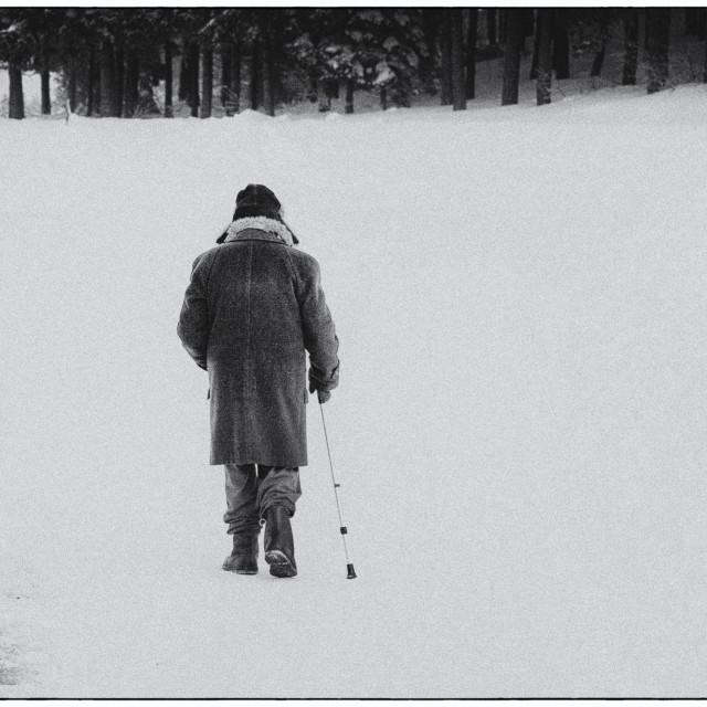 """Old man walking through the snow"" stock image"
