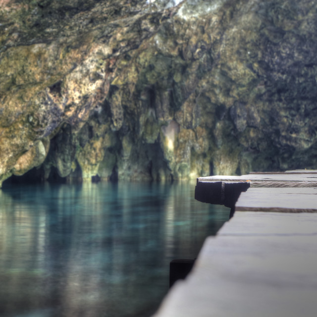 """Cenote with walkway Yucatan Peninsular."" stock image"