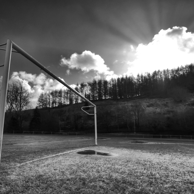 """Goalposts in winter"" stock image"