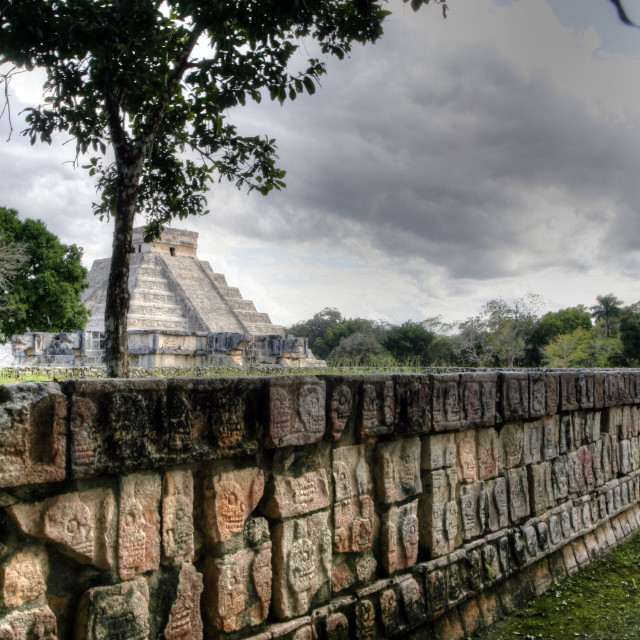 """Mayan Pyramid @ Chichen Itza from Sacrificial Platform"" stock image"