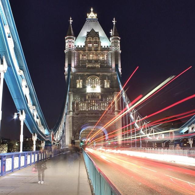 """Tower Bridge, London, at night"" stock image"