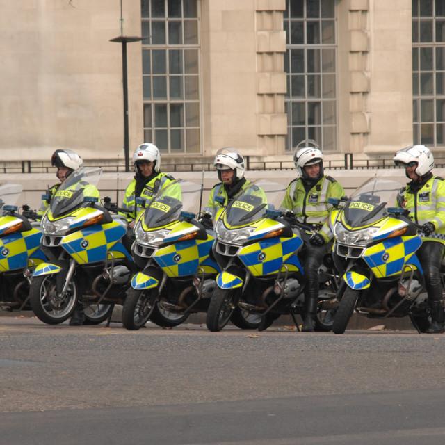 """Metropolitan Police armed motorcycle escorts"" stock image"