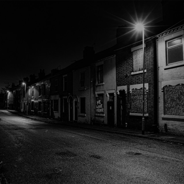 """derelict street at night"" stock image"
