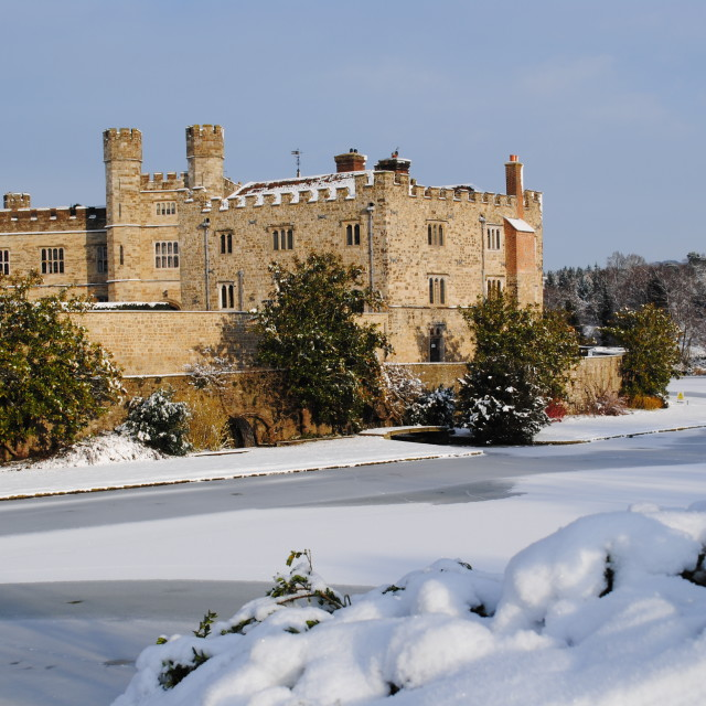 """Leeds castle in the snow"" stock image"