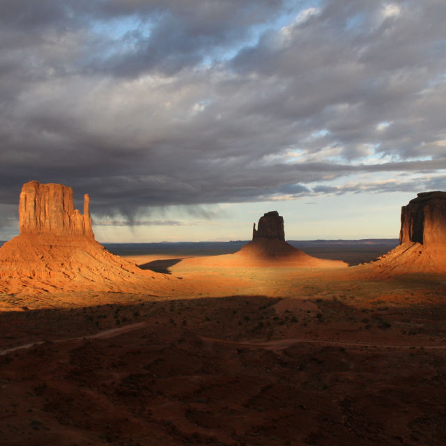 """Monument Valley Rain Storm - 3 Mittens"" stock image"
