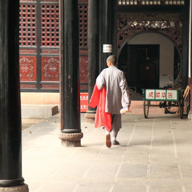 """Monk in Chengdu China"" stock image"