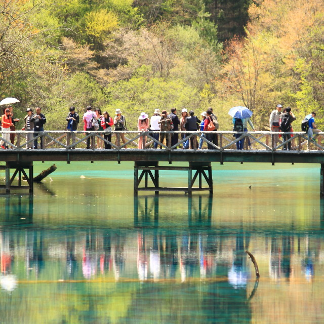 """Tourists Jiuzhaigou National Park China"" stock image"