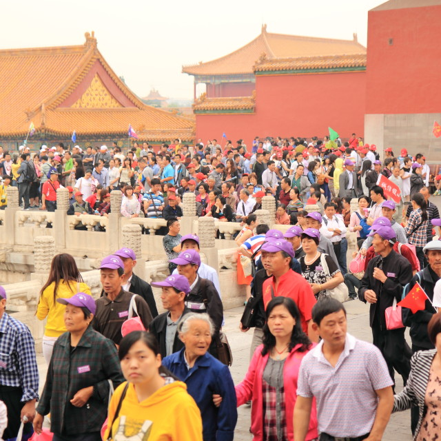 """Chinese tourists Forbidden City"" stock image"