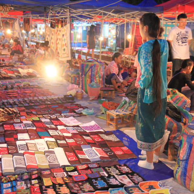 """Night Market in Luang Prabang Laos"" stock image"