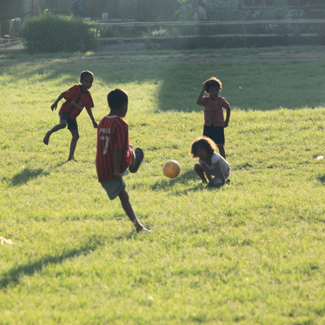"""Playing soccer Bajawa Flores"" stock image"