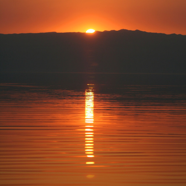 """""""Sunset over the Dead Sea"""" stock image"""