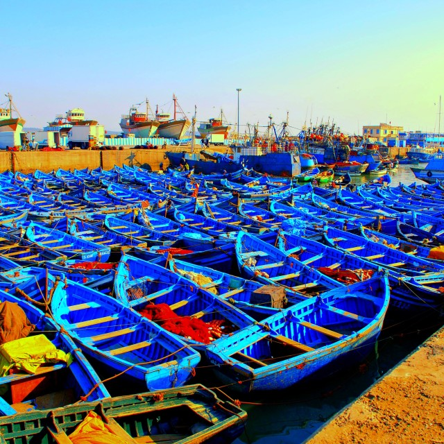 """Blue boats"" stock image"