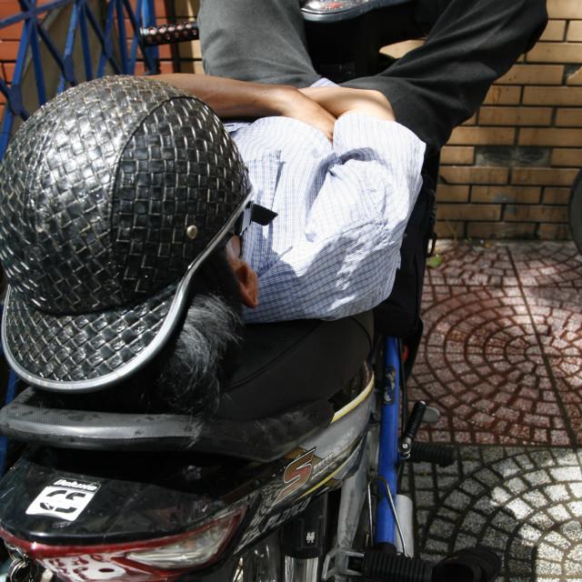 """""""Sleepy Biker"""" stock image"""