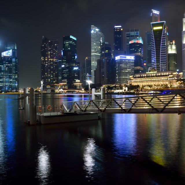 """Night at Marina Bay"" stock image"