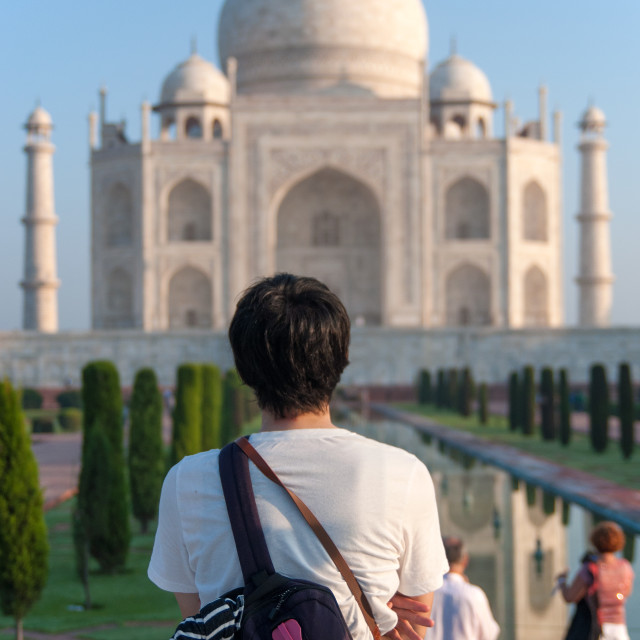 """Admiring the Taj Mahal"" stock image"