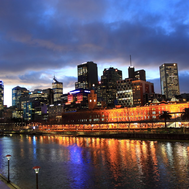 """Melbourne night view"" stock image"
