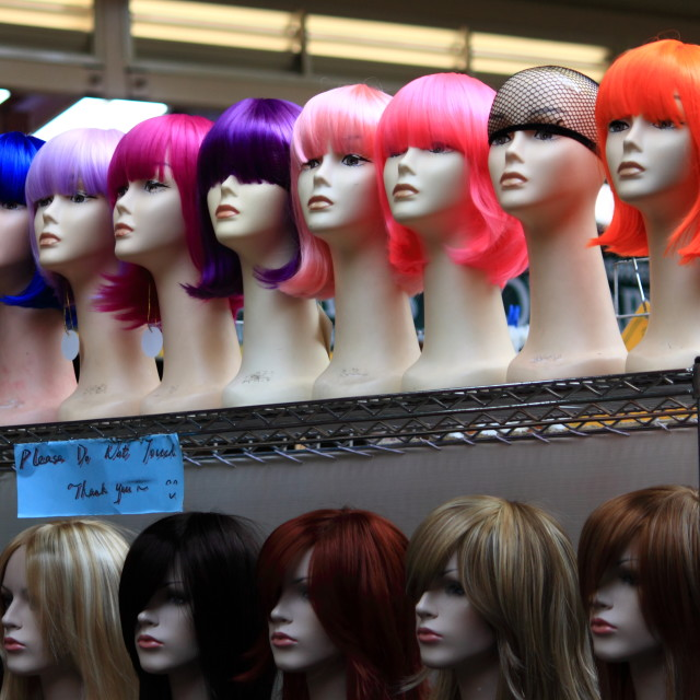 """Wig shop at Queen Victoria market"" stock image"