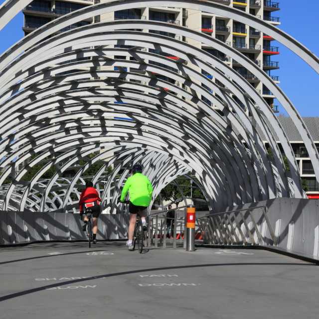 """Cyclists Webb bridge Melbourne"" stock image"