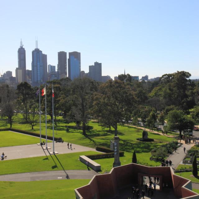 """""""Melbourne skyline Botanic garden"""" stock image"""