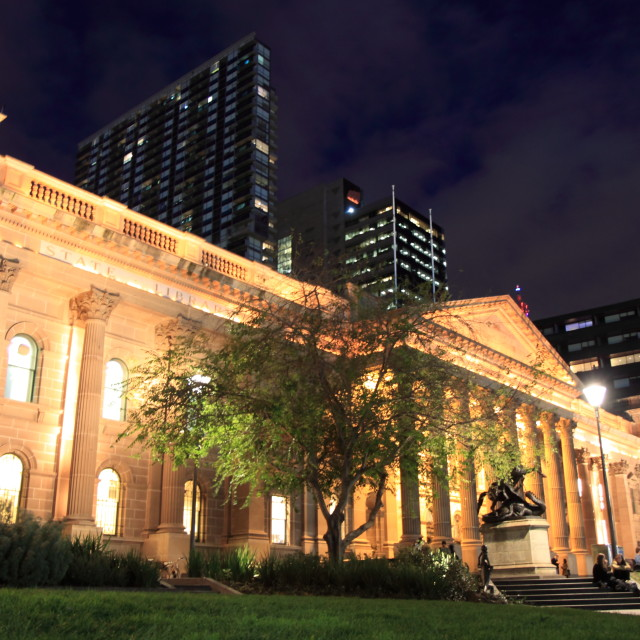 """State Library in Melbourne Night"" stock image"