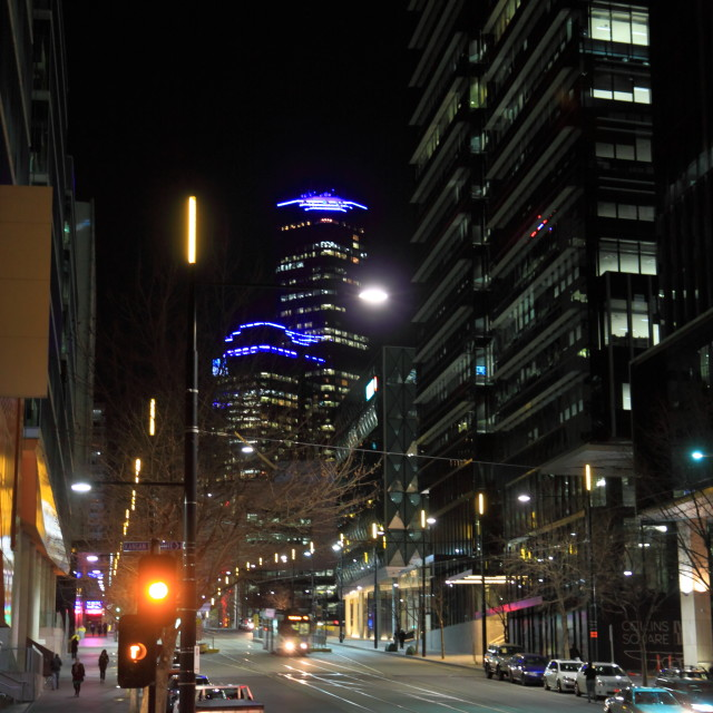 """Melbourne night Docklands"" stock image"