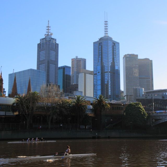 """City life Melbourne"" stock image"