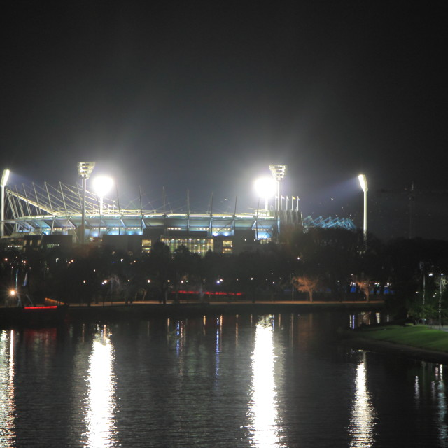 """MCG Melbourne night"" stock image"