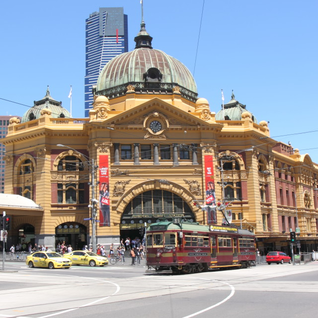 """Flinders street station and tram"" stock image"