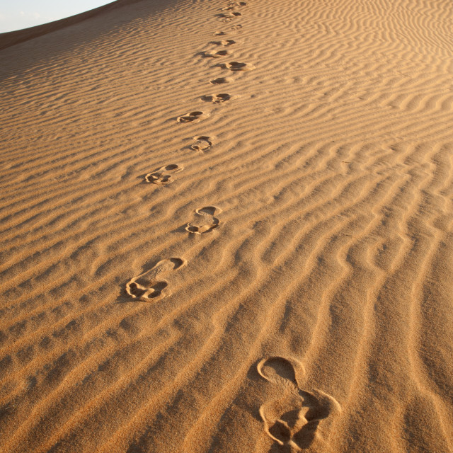 """Footprints in the Desert"" stock image"